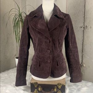 Wilson's Leather Plum Leather XSmall Button Jacket